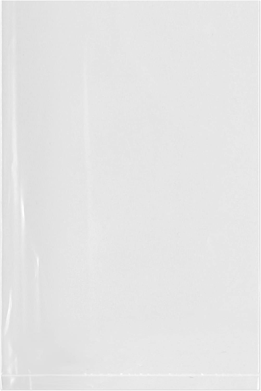 Plymor Flat Open Clear Plastic Poly Bags, 2 Mil, 4