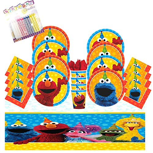 Sesame Street Elmo and Cookie Monster Birthday Party Plates Napkins Cups Table Cover Serves 16 with Candles -