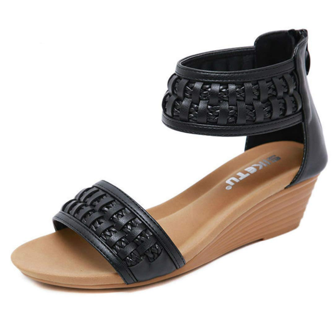 color 1 T-JULY Women Woven Sandals Woman Wedges Open Toe Casual Summer Handmade Fashion Comfortable shoes with Back Zipper in Black Brown Beige