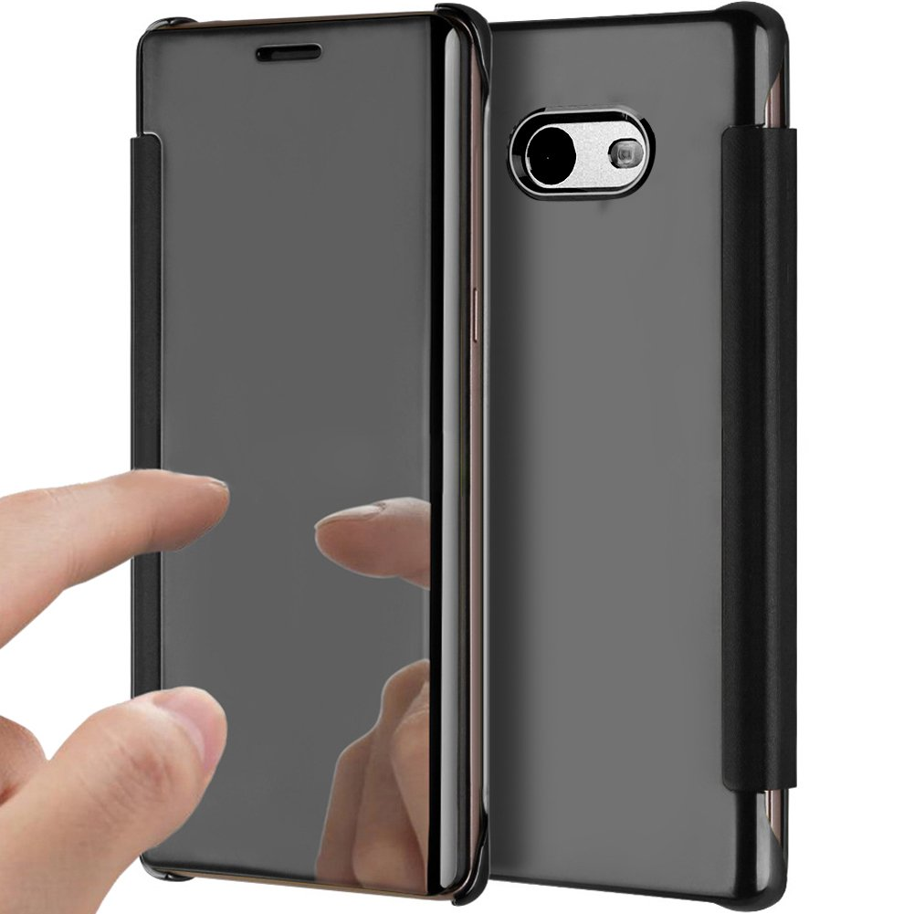 Galaxy J5 2017 Case,Galaxy J5 2017 Cover,ikasus Ultra-Slim Luxury Shock-Absorption Clear View Flip Electroplate Plating Mirror Cover Flip Protective Case Cover for Galaxy J5 (2017),Black