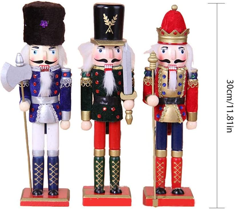 30cm 3 PI/ÈCES Casse Noix en Bois Statue Original Jouet Nutcracker Soldier Christmas pour la F/ête en Plein Air Cadeaux De No/ël Enfants Haute Qualit/é Casse Noisette Soldat Figurine