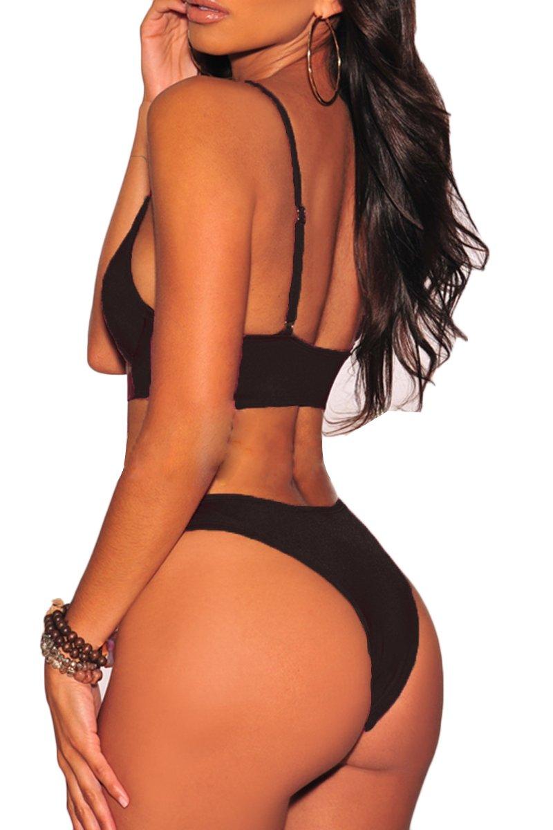 32ad2a0e44e FAFOFA Womens Sexy Scoop Neck Straps Cutout High Cut Thong 2PCS Bikini Sets  Swimsuit < Sets < Clothing, Shoes & Jewelry - tibs