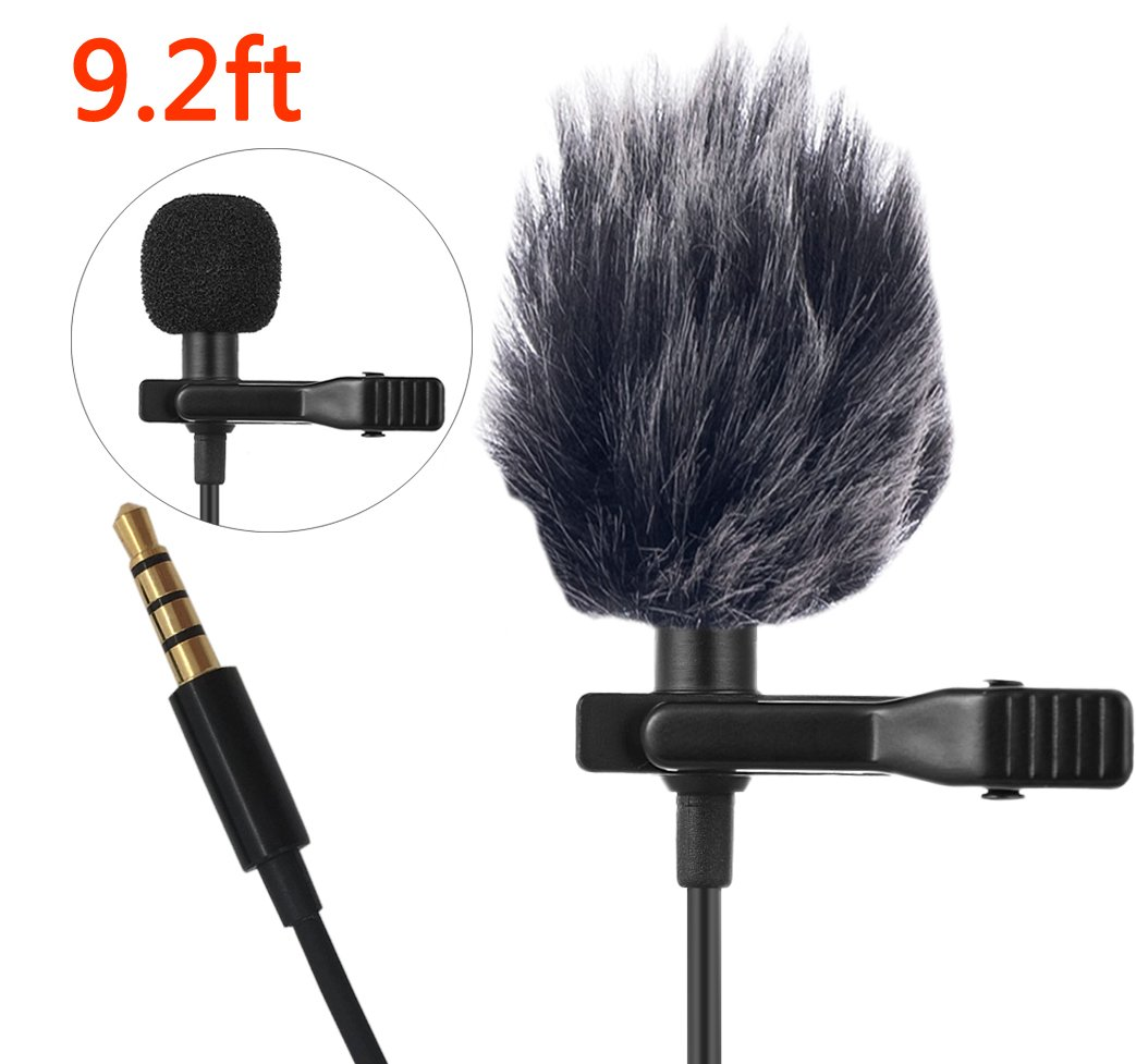 Lavalier Lapel Microphone,Professional Lapel Mic Clip-on Mic with Jack Adapter for iPhone, Android, Camera, DSLR, PC, Laptop, Youtube FOLAI