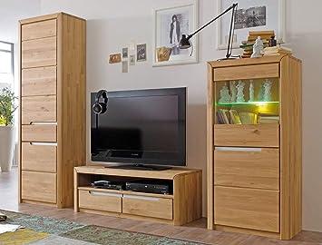 Wohnwand Pisa 24 Eiche Bianco Massiv 3 Teilig Medienwand Tv Wand