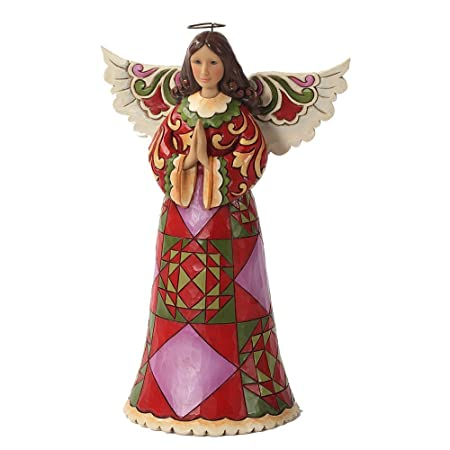 Enesco Jim Shore Heartwood Creek Christmas Angel Praying Figurine, 9.5-Inch