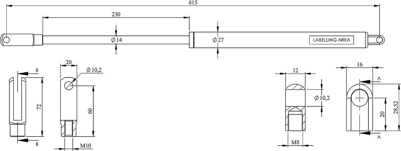 1000 N ABLE-GOODS 1x Gasfeder Gasdruckfeder B/öckmann L:615,Hub:230,14//27 1000N-2500N Pferdeanh/änger