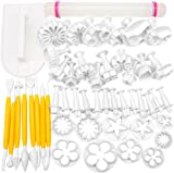 H&S 50pcs Cake Decorating Tools Fondant Icing Cutters Sugarcraft Tools Kit Plunger Cutters Rose Flower Leaf Moulds Set Cup Cake Icing Smoother Rolling Pin Equipment Accessories