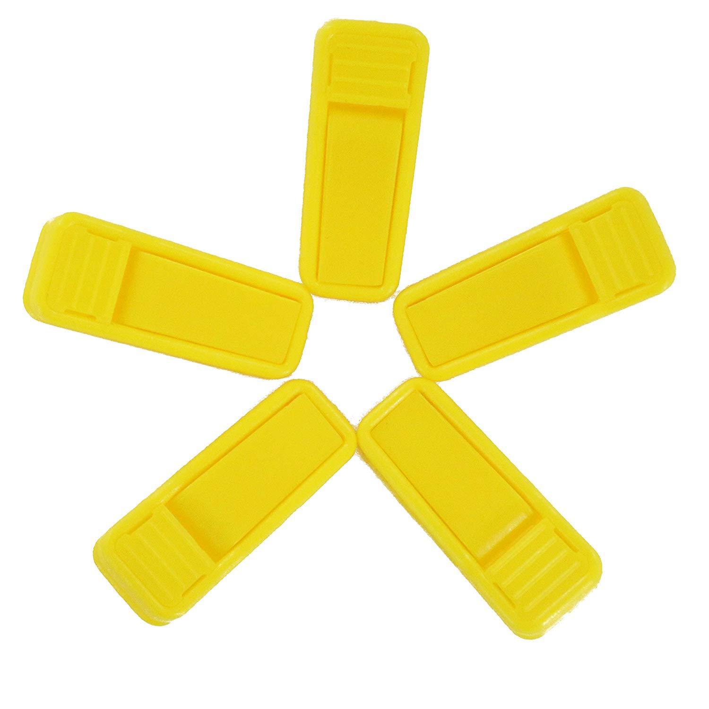 Fushing 20Pcs Plastic Finger Clips for Slim-line Velvet Hangers Garment Trouser Pants Removable Strong Grip (Yellow) 20PFingerClickYellow