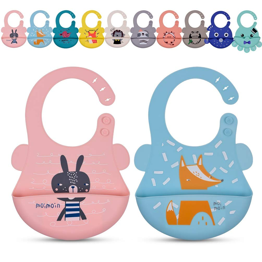 2 Pack Silicone Bibs for Baby Boy Girl, Toddler Bibs for Eating with Food Catcher, Plastic Waterproof Bibs for Babies (6-36 Months)