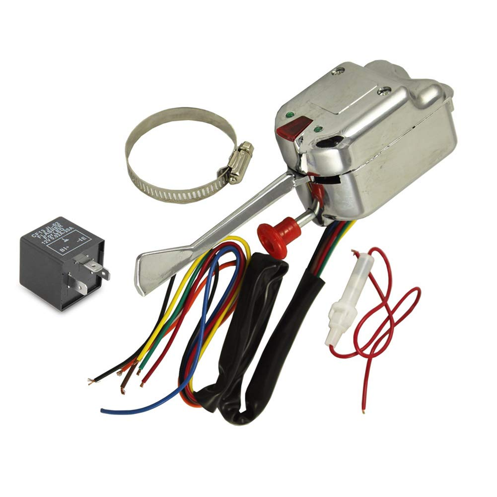 12V Universal Chrome Street Hot Rod Turn Signal Switch For Ford GM Buick Street Rods with 3 Pin LED Turn Blinker Light Flasher Relay ANTO