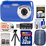Vivitar ViviCam S126 Digital Camera (Blue) 32GB Card + Hard Case + Flex Tripod + Reader + Kit
