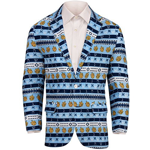 Forever Collectibles Hanukkah Repeat Ugly Business Sport Jacket-XL(48)