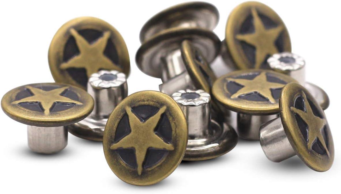 12 juegos de botones de latón con estampado de estrellas, botones de mezclilla de 15 mm