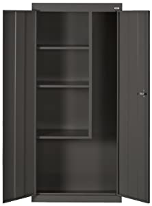 "Sandusky Lee VFC1301566-09 Black Steel Janitorial/Supply Cabinet, 3 Fixed Side Shelves, 66"" Height x 30"" Width x 15"" Depth"