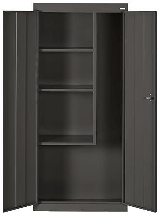 Gentil Sandusky Lee VFC1301566 09 Black Steel Janitorial/Supply Cabinet, 3 Fixed  Side Shelves