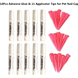 Pet 10 Adhesive Glues & 15 Applicator Tips for Cat or Dog Nail Caps by Brostown