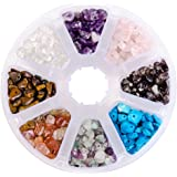 PandaHall Elite Chip Gemstone Beads Size 7mm for Jewelry Making Multicolor 4 About 800pcs with Box Set Value Pack