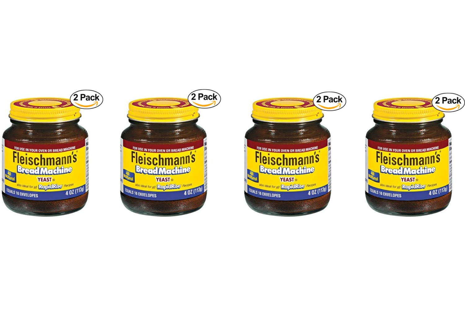 Fleischmann's Bread Machine Yeast, Also Ideal for All Rapid Rise Recipes, Equals 16 Envelopes, 113 Grams Jar (Pack of 2) (4 Pack)