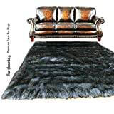 Shag Area Rug - Dark Gray Wolf Luxury Fur Carpet - Soft Faux Fur Sheepskin - Rectangle Accent Rug - Fur Accents (4'x6')