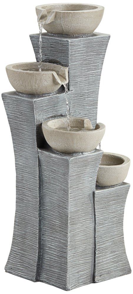 Four Bowls 30'' High Gray Stone Indoor/Outdoor Fountain by John Timberland