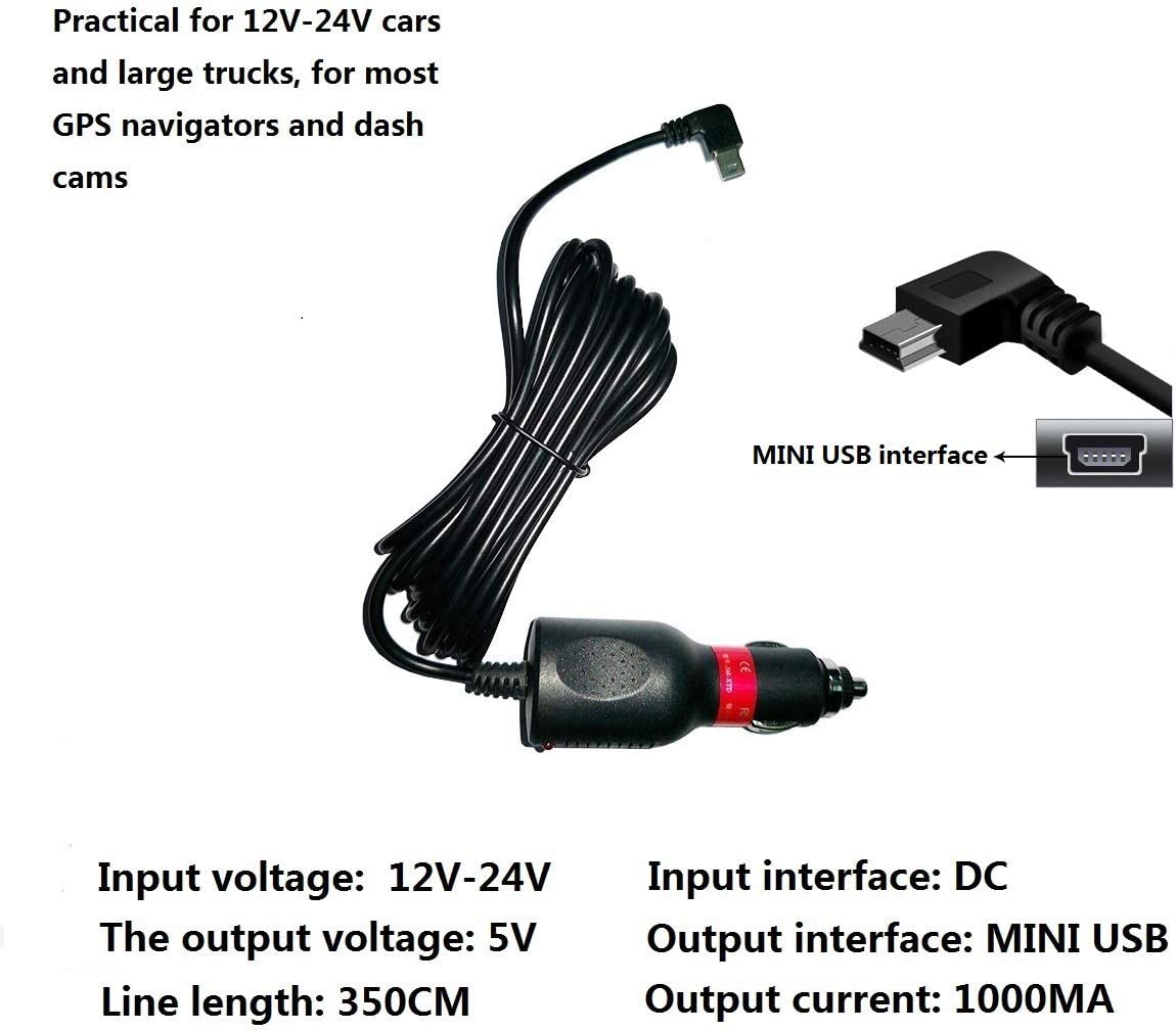 HKXLT 2000MA Mini USB Car Charger,for Dash Cam//GPS Navigator J56-2A 2.0A Vehicle Power Supply Adapter Suitable for Car Truck from 12V-24V