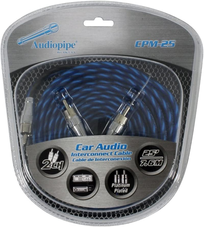 Audiopipe CPM25 Platinum Plated Interconnect Cable 25ft