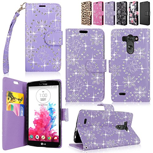 LG G Vista Case-Cellularvilla Pu Leather Wallet Card Flip Open Pocket Case Cover Pouch For LG G Vista VS880 (Verizon / AT&T) (Purple Glitter)