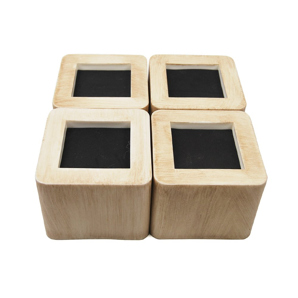 MIIX HOME Bed Risers 3 Inch | Heavy Duty Imitation Bamboo Style Furniture Risers | 4PCS | (Bamboo Colour)