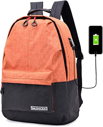 Women's Backpack Preppy Style Contrast Color Multipurpose Back Bag USB Charging Fashion Campus Backpack