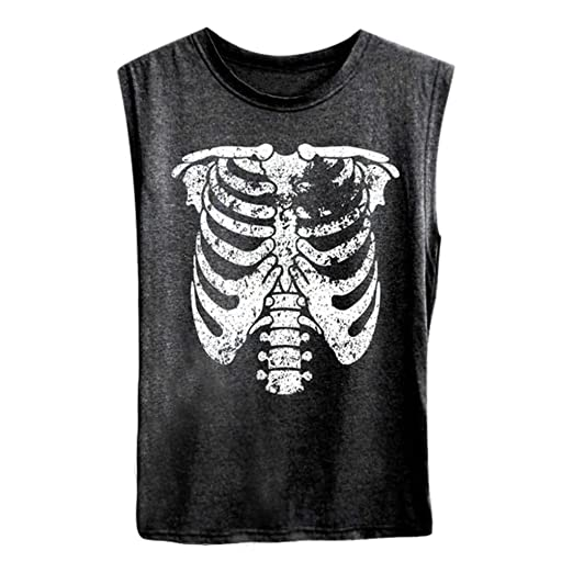 3794f1d1 Hypothesis_X ☎ Womens Sleeveless Casual 29 Summer Round Neck Skull Printing  Loose Shirt Vest Fashion