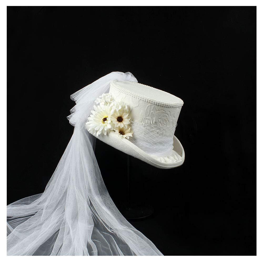 LL Women's 4 Size White Victorian Gothic Steampunk Wedding top hat Winter Wedding Top hat (Color : White, Size : 57cm)