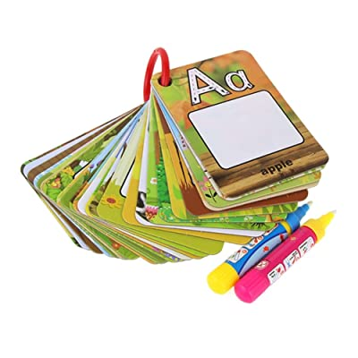 Novobey Water Magic Painting Graffiti Book Card 26 Letters Cognitive Cards A-Z Alphabet Word Colouring Doodle Board + 2 Magic Drawing Pens Games Early Education Toy for Toddlers Kids Baby: Toys & Games