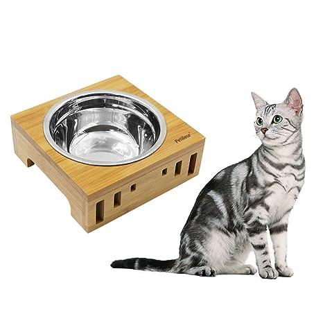 Petilleur Cuenco Elevado para Gatos Perros Plato Gato Perro Pequeño Cerámica Acero Inoxidable con Soporte de Bambú (1 Cuenco, Acero Inoxidable)