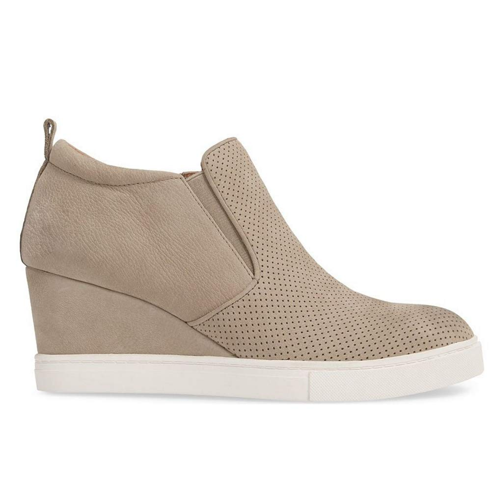Womens Platform Wedge Sneaker Booties Slip on High Top Heeled Hollow Out Pump Ankle Boots by Syktkmx (Image #4)