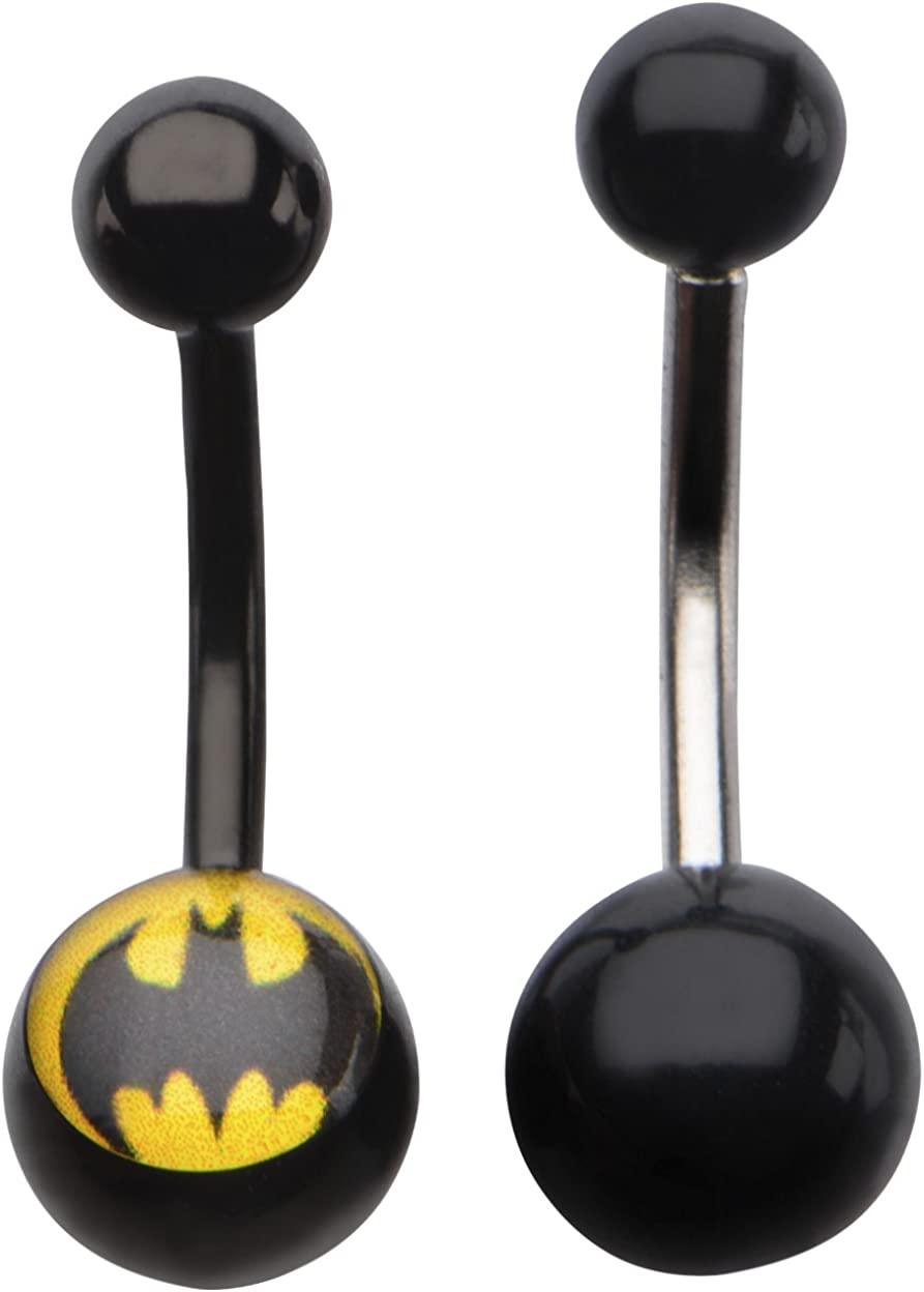 Batman Shield Pink Heart Navel Barbell Stainless Steel Body Jewelry Licensed