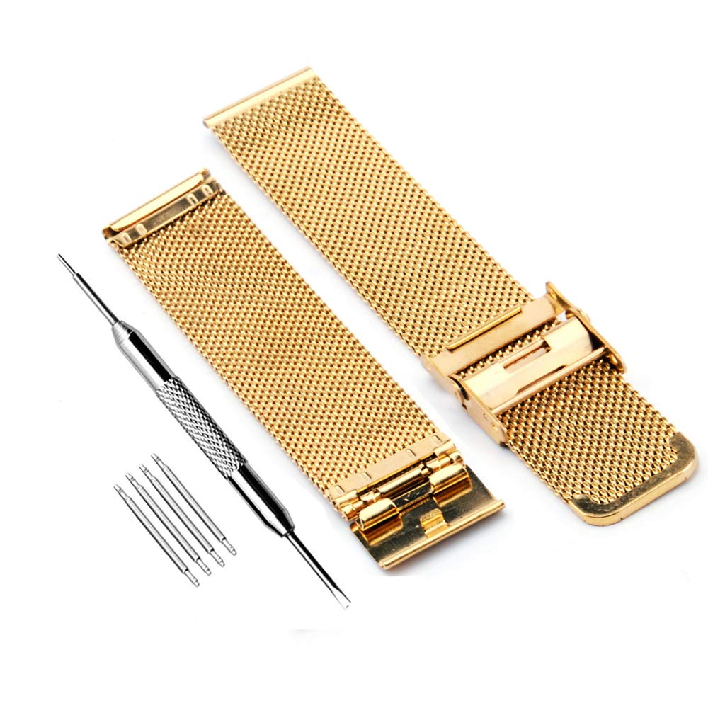Amazon.com: ZHUGE Fashion Watch Band- Stainless Steel Watch Strap Milanese Mesh 22mm Gold: Watches