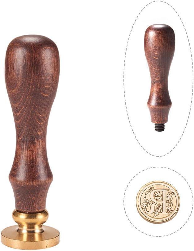 PandaHall Elite 1 St/ück DIY Holz Wachs Siegel Stempel Buchstabe D 25x14mm Alphabet Sammelalbum Messing Briefmarken und Holzgriff Sets