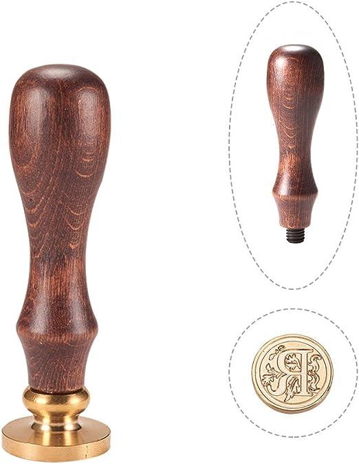 PandaHall Elite - Cuño de lacre con mango de madera y sellos de latón con las letras del alfabeto, Letra A, 25 x 14 mm, 75 mm, Letra-r, 25x14mmx75mm: Amazon.es: Hogar