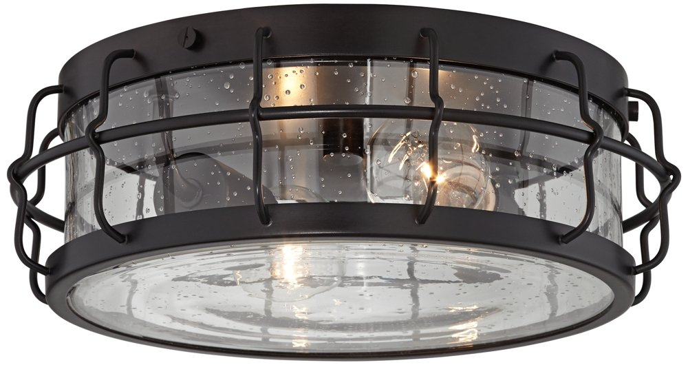 Aya 13 1/4'' Wide Bronze Caged Metal Ceiling Light