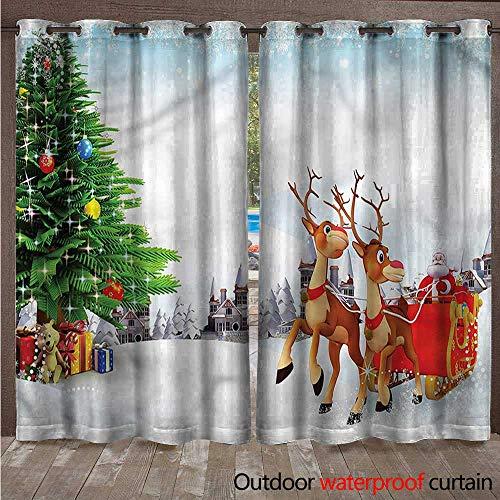 ackout Curtain Snowy Village Sleigh Tree W108 x L96 ()