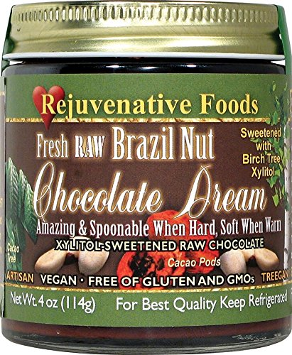 TWO 18 oz. Xylitol-Sweet Organic Raw Chocolate Brazil-Nut Dream Pure Fresh Nutritional Dairy-Free Antioxidants StoneGround white-sugar-free fudge candy-in-glass-jar Rejuvenative Foods (2-18 oz) by Rejuvenative Foods