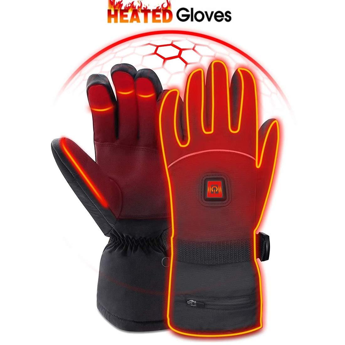 Winter warme Handschuhe, beheizte warme Handschuhe für Männer und Frauen, wiederaufladbare, wasserdichte isolierte 7.4V-Handwärmer für Indoor-Outdoor-Sportarten, Skifahren, Klettern, drei Heizmodi,M