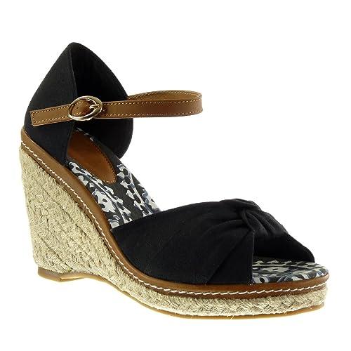 Angkorly - Zapatillas Moda Sandalias Alpargatas Plataforma Mujer Nodo Tanga Cuerda Talón Plataforma 10.5 CM - Negro AF-30 T 38: Amazon.es: Zapatos y ...