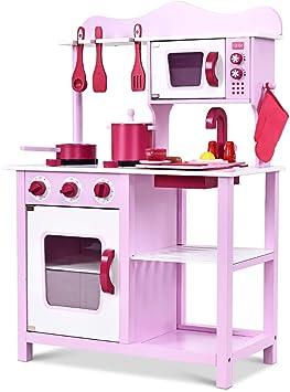 Costway Cucina Giocattolo Per Bambini Set Da Cucina Attrezzata Per Bambini Set Da Cucina Per Bambini 84 5 X 30 X 60 Cm Rosa Bianco Amazon It Giochi E Giocattoli