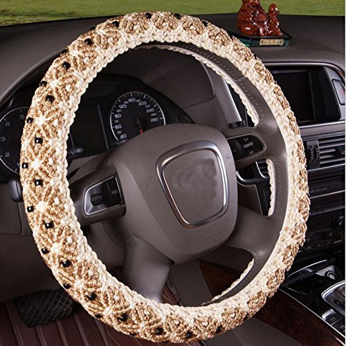 HomDSim 15inch Hand Beaded Ice Silk Automotive Auto Car Steering Wheel Wrap Cover Universal Winter Anti Slip Sweat Absorption Warmer Winter Cooler Hands Summer 38cm (Beige)