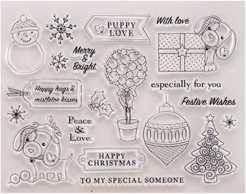 Merry Christmas Puppy Love Decors Snowflakes Christmas Tree Gift Clear Stamps for Card Making Decoration and DIY Scrapbooking