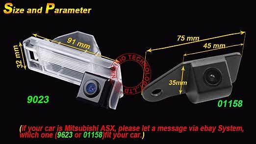 Uni Coba Auto HD CCD marcha atrás 170 ° amplio con radar sensor Asistente de aparcamiento universal para PAL/NTSC, Negro para ASX/RVR/Outlander Sport/CS6 ...