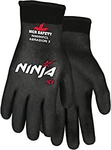 MCR Safety N9690FCXXL Ninja Ice FC Nylon Back Double Layer Gloves with Full Dipped HPT Coating, Black, 2X-Large, 1-Pair