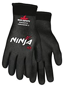 Memphis Glove N9690FCXL Ninja Ice FC Nylon Back Double Layer Gloves with Full Dipped HPT Coating, Black, X-Large, 1-Pair
