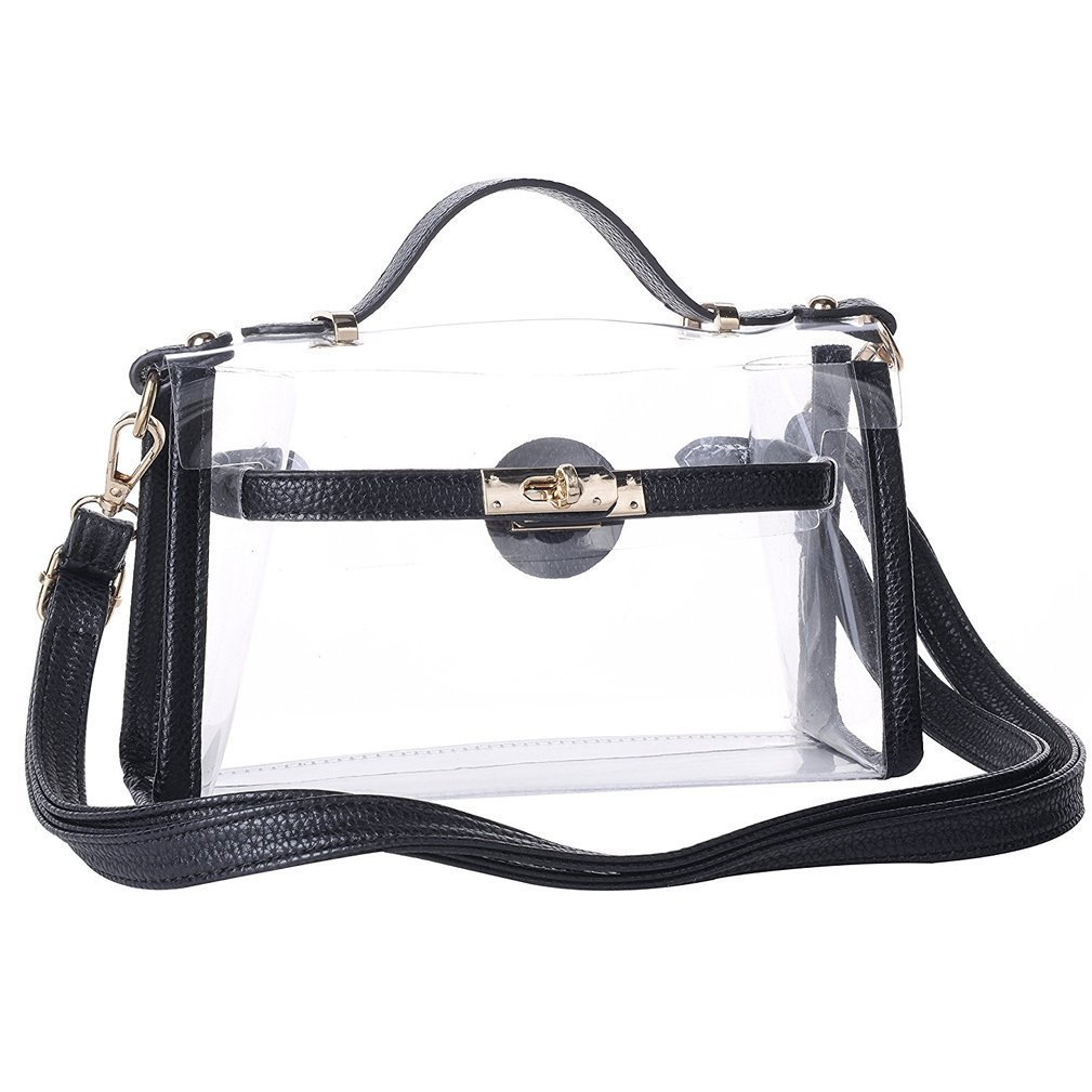 Yocatech Transparent Crossbody Bags Messenger Bags For Women NFL Stadium Approved (Black) by Yocatech